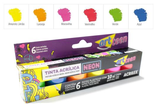 Kit 06 Tintas Acrilica Fosca Neon 10ml apenas 9,90